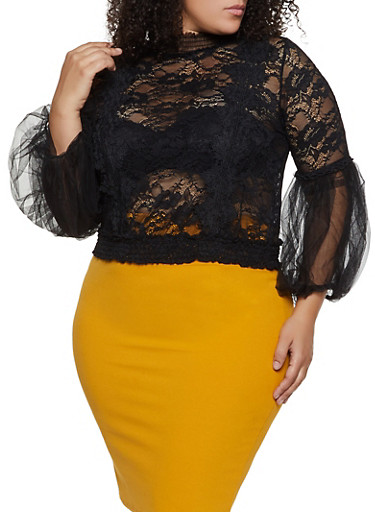 Plus Size Bubble Mesh Sleeve Lace Top,BLACK,large