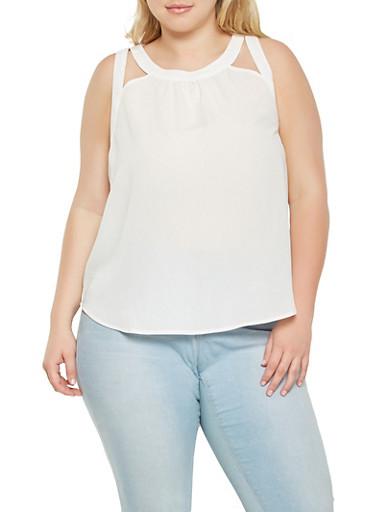 Plus Size Cut Out Tank Top,WHITE,large