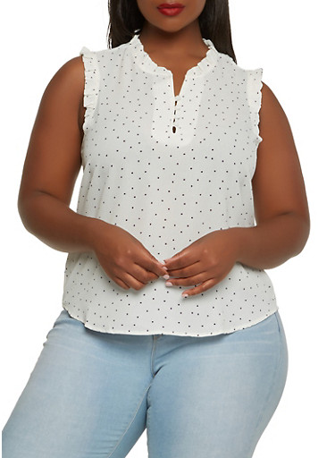 Plus Size Ruffle Trim Polka Dot Top,WHITE,large
