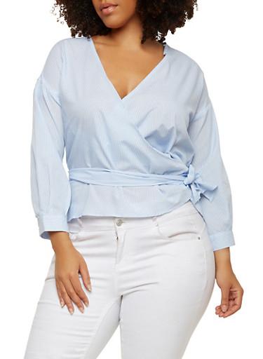 Plus Size Striped Wrap Top,WHITE/BLUE,large