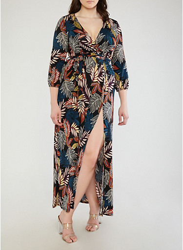 Plus Size Printed Faux Wrap Maxi Dress with Sleeves,BLACK,large