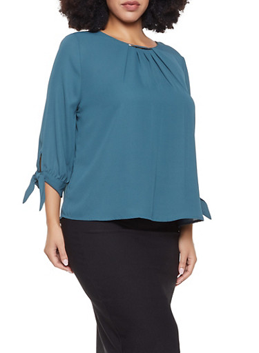 Plus Size Shirred Tie Sleeve Blouse,GREEN,large