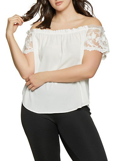 Plus Size Off the Shoulder Embroidered Sleeve Top,WHITE,large