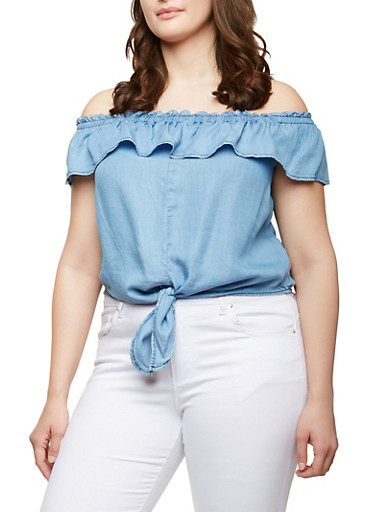 Plus Size Chambray Off the Shoulder Tie Front Top,BLUE,large