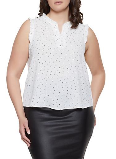 Plus Size Polka Dot Half Button Blouse,WHITE,large