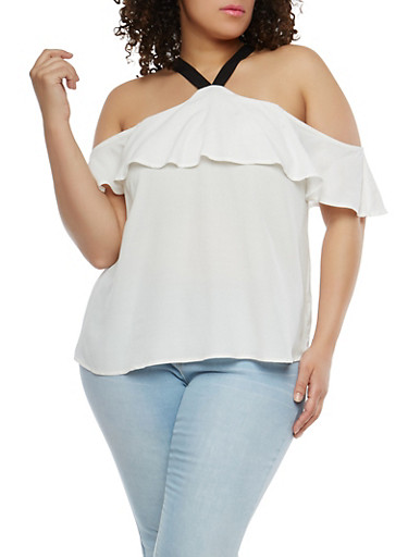 Plus Size Ruffle Cold Shoulder Top,WHITE,large
