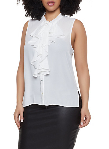 Plus Size Sleeveless Tie Neck Shirt,IVORY,large