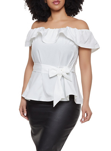 Plus Size Off the Shoulder Peplum Top,IVORY,large