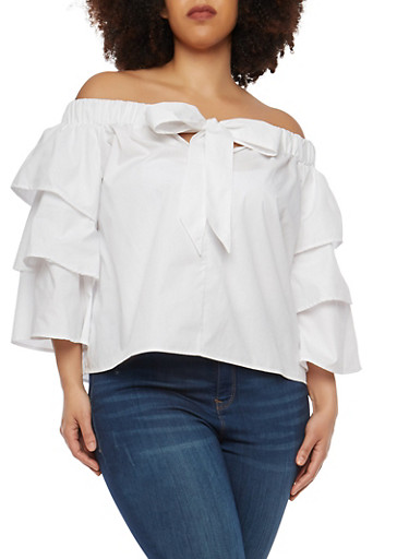 Plus Size Off the Shoulder Tier Sleeve Top,WHITE,large
