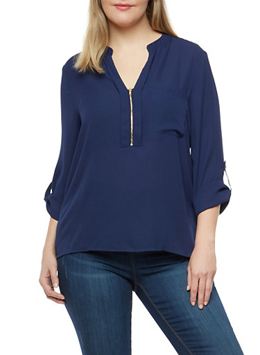 Plus Size Zip Neck Blouse,NAVY,large