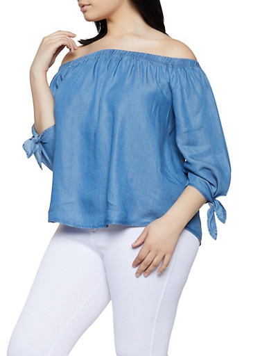 Plus Size Tie Sleeve Off the Shoulder Chambray Top,MEDIUM WASH,large