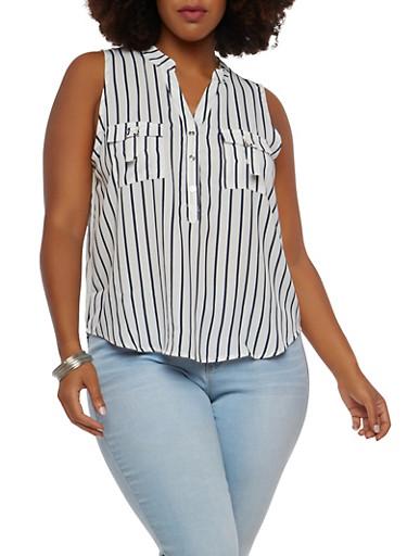 Plus Size Striped Sleeveless Top,WHITE NAVY,large