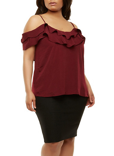 Plus Size Tiered Ruffle Off the Shoulder Top,BURGUNDY,large