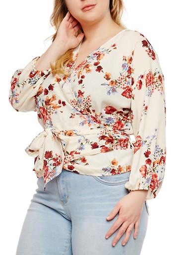 Plus Size Floral Wrap Top,IVORY,large