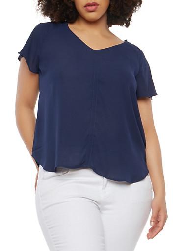 Plus Size Flutter Sleeve Blouse,NAVY,large