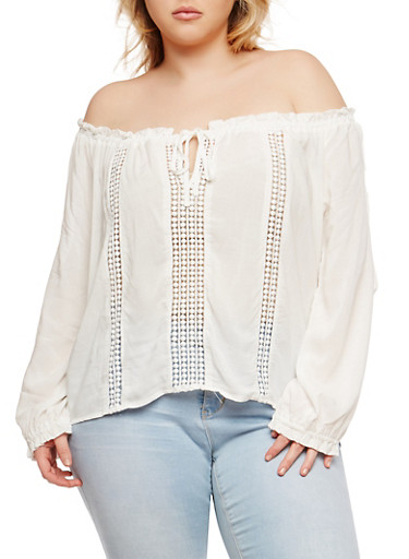 Plus Size Tie Off the Shoulder Peasant Top,WHITE,large