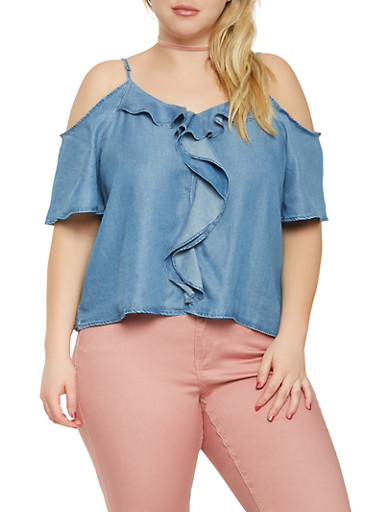 Plus Size Chambray Cold Shoulder Top,BLUE,large