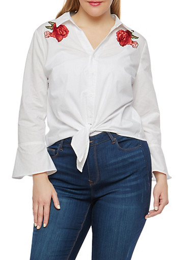 Plus Size Button Front Top with Floral Patches,WHITE,large