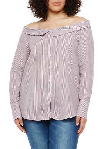 Plus Size Striped Off the Shoulder Button Front Shirt,BURGUNDY,large