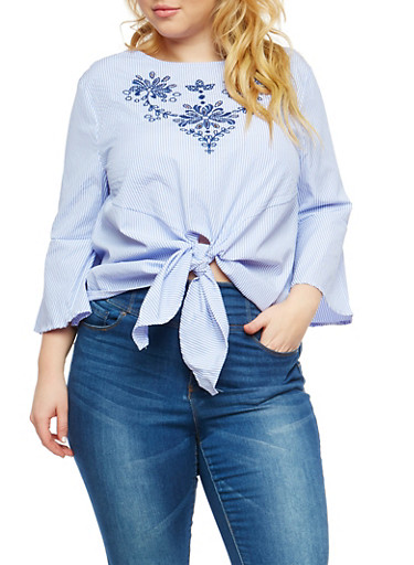 Plus Size Striped Tie Front Top with Embroidered Detail,LIGHT BLUE,large