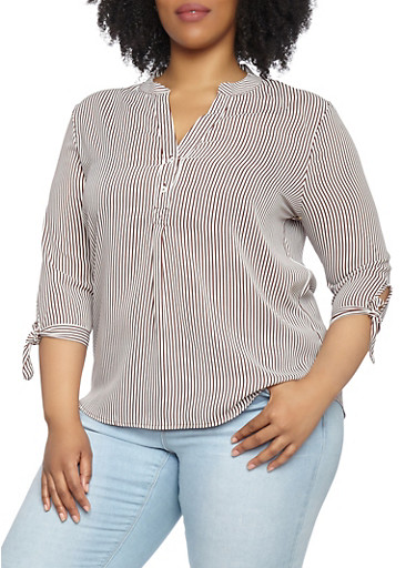 Plus Size Striped Tie Sleeve Top,WHITE,large