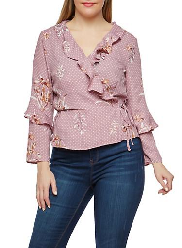 Plus Size Floral Polka Dot Wrap Top,MAUVE,large