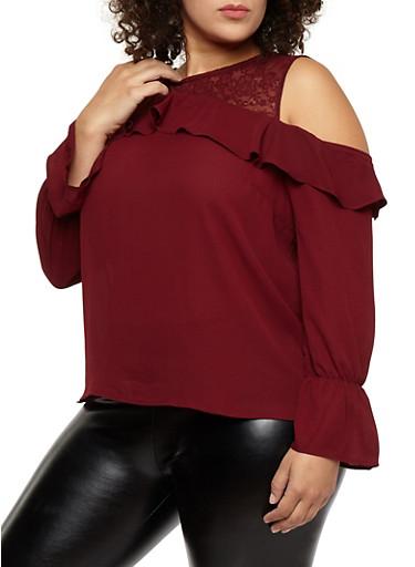 Plus Size Lace Yoke Ruffled Cold Shoulder Top,BURGUNDY,large