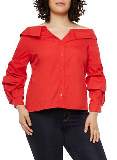 Plus Size Off the Shoulder Button Front Top,RED,large