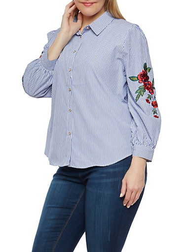 Plus Size Stripe Embroidered Button Front Shirt,BLUE WHITE,large