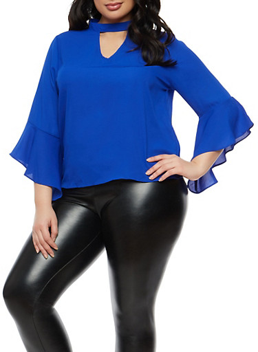 Plus Size Bell Sleeve Keyhole Top,ROYAL,large