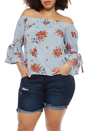 Plus Size Striped Floral Off the Shoulder Top,NAVY RED,large