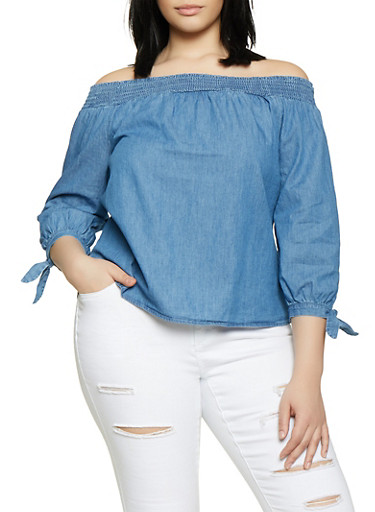 Plus Size Chambray Tie Sleeve Off the Shoulder Top,MEDIUM WASH,large