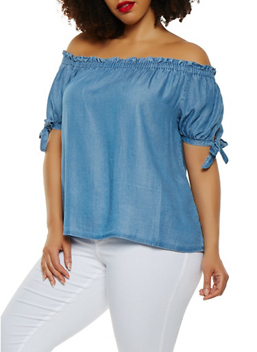 Plus Size Off the Shoulder Chambray Top,MEDIUM WASH,large