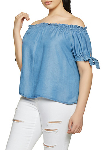 Plus Size Chambray Off the Shoulder Top,MEDIUM WASH,large