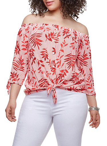 Plus Size Off the Shoulder Tie Front Top,RED,large