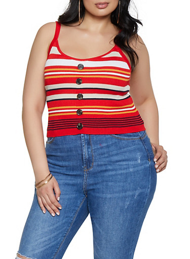 Plus Size Rib Knit Button Front Tank Top,RED,large