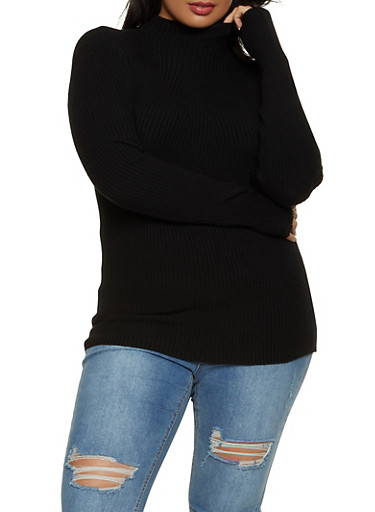 Plus Size Ribbed Knit Mock Neck Sweater,BLACK,large