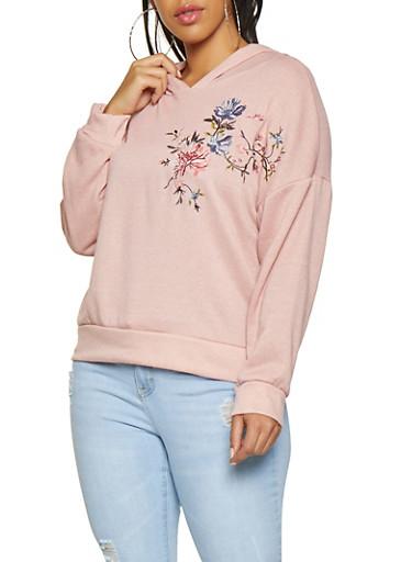 Plus Size Embroidered Hooded Sweatshirt,MAUVE,large