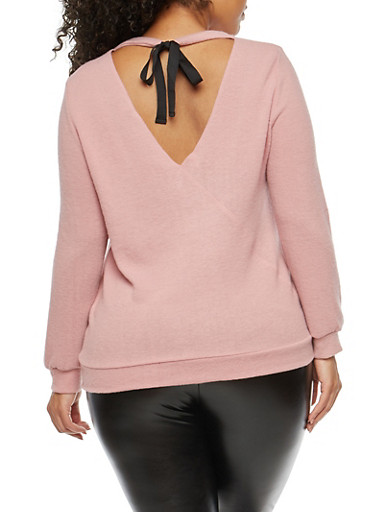Plus Size Soft Knit Tie Back Top,MAUVE,large