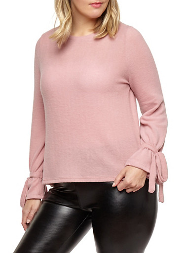 Plus Size Tie Sleeve Sweater,MAUVE,large