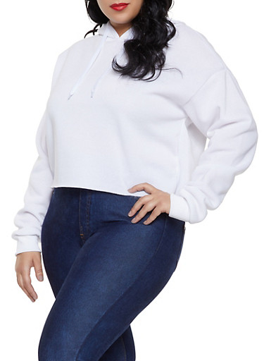 Plus Size Fleece Lined Raw Cut Sweatshirt,WHITE,large