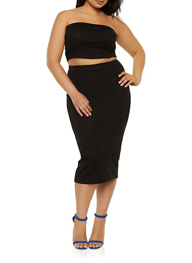 Plus Size Solid Tube Top with Pencil Skirt,BLACK,large