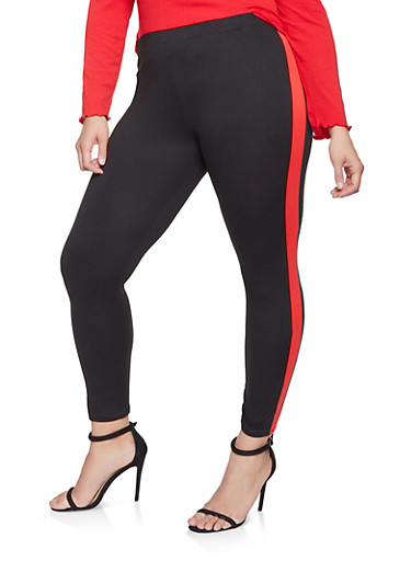 Plus Size Color Block Leggings,RED,large
