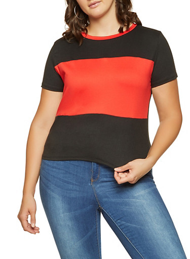 Plus Size Color Blocked Tee,RED,large