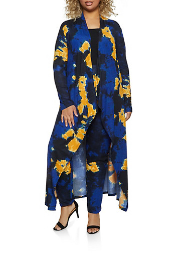 Plus Size Tie Dye Soft Knit Duster and Leggings Set,MUSTARD,large