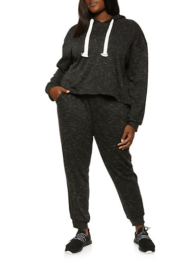 Plus Size Marled Hooded Top and Joggers Set,BLACK,large
