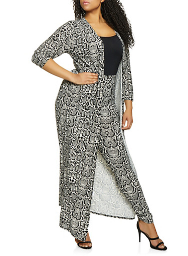 Plus Size Animal Print Duster and Leggings Set,BLACK,large