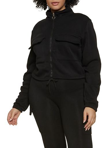 Plus Size Cargo Track Jacket,BLACK,large