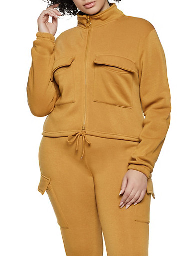 Plus Size Cargo Track Jacket,TAN,large