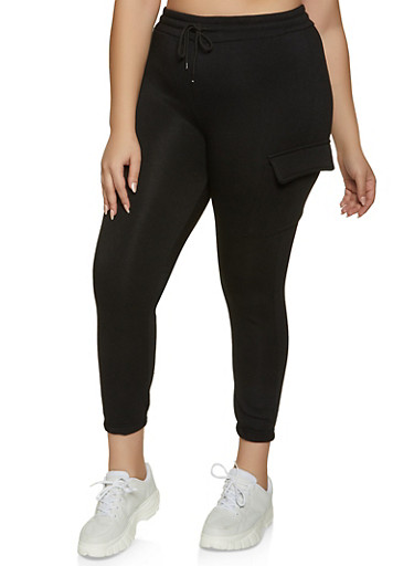 Plus Size Cargo Joggers | 1927063400203,BLACK,large